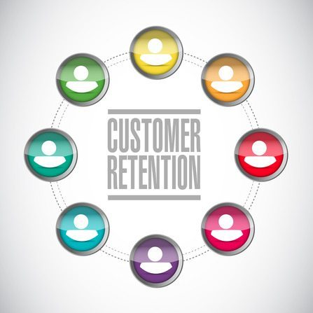 customer retention diversity network illustration design over a white background