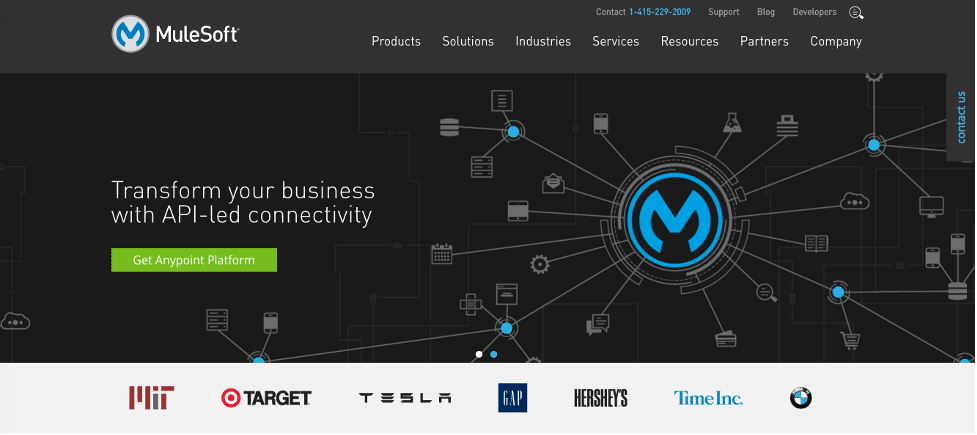 Mulesoft website homepage screenshot